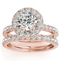 French Pave Halo Diamond Bridal Ring Set 18k Rose Gold (1.20ct)