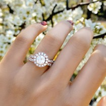 French Pave Halo Diamond Bridal Ring Set 18k Rose Gold (1.20ct)