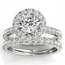 French Pave Halo Diamond Bridal Ring Set 18k White Gold (1.20ct)
