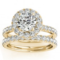 French Pave Halo Diamond Bridal Ring Set 18k Yellow Gold (1.20ct)