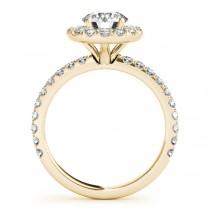 French Pave Halo Diamond Bridal Ring Set 18k Yellow Gold (1.20ct)