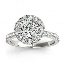 French Pave Halo Diamond Bridal Ring Set Palladium (1.20ct)