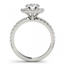 French Pave Halo Diamond Bridal Ring Set Platinum (1.20ct)