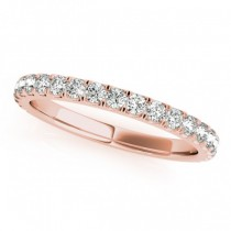 French Pave Diamond Ring Wedding Band 18k Rose Gold (0.45ct)