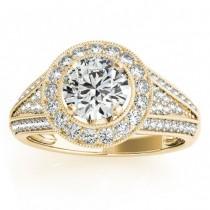 Vintage Diamond Halo Split Shank Engagement Ring 14k Y. Gold 0.63ct