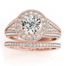 Halo Split Shank Diamond Accented Bridal Set in 14k Rose Gold 0.75ct