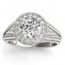 Halo Split Shank Diamond Accented Bridal Set in 14k White Gold 0.75ct