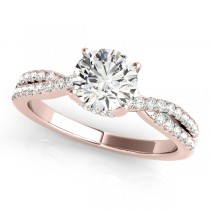 Round Cut Diamond Engagement Ring, Twisted Band 14k Yellow Gold 1.20ct