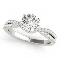 Round Cut Diamond Engagement Ring, Twisted Band Palladium 1.20ct