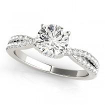 Round Cut Diamond Engagement Ring, Twisted Band Platinum 1.20ct
