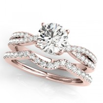 Round Diamond Engagement Ring & Band Bridal Set 18k Rose Gold 1.32ct