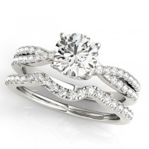 Round Diamond Engagement Ring & Band Bridal Set Palladium 1.32ct
