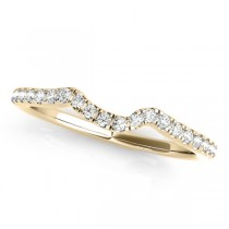 Women's Wedding Ring, Contoured Diamond Band 18k Yellow Gold 0.12ct