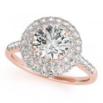 Diamond Double Halo Engagement Ring Prong Set 14k Rose Gold 1.50ct