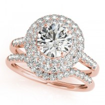 Diamond Double Halo Ring and Band Bridal Set 14k Rose Gold (1.70ct)
