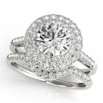 Diamond Double Halo Ring and Band Bridal Set 14k White Gold (1.70ct)