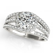 Wide Triple Band Diamond Engagement Ring 14k White Gold (2.13ct)