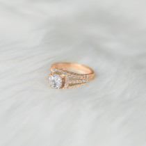 Wide Triple Band Diamond Engagement Ring 18k Rose Gold (2.13ct)