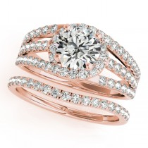 Triple Band Diamond Engagement Ring Bridal Set 14k Rose Gold (2.33ct)