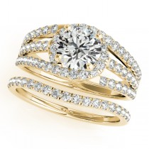 Triple Band Diamond Engagement Ring Bridal Set 14k Yellow Gold (2.33ct)