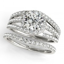 Triple Band Diamond Engagement Ring Bridal Set 18k White Gold (2.33ct)