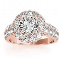 Double Row Diamond Halo Engagement Ring 18K Rose Gold (0.89ct)
