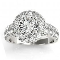 Double Row Diamond Halo Engagement Ring 18K White Gold (0.89ct)