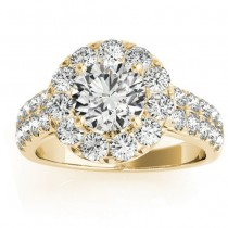 Double Row Diamond Halo Engagement Ring 18K Yellow Gold (0.89ct)