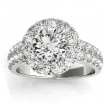 Double Row Diamond Halo Engagement Ring Palladium (0.89ct)