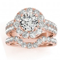 Diamond Accented Halo Bridal Set Setting 14K Rose Gold (1.31ct)