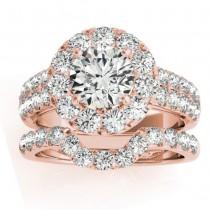 Diamond Accented Halo Bridal Set Setting 14K Rose Gold (1.31ct)
