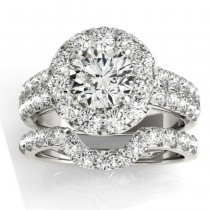 Diamond Accented Halo Bridal Set Setting 18K White Gold (1.31ct)
