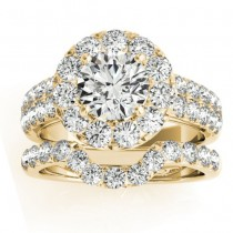 Diamond Accented Halo Bridal Set Setting 18K Yellow Gold (1.31ct)