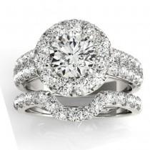 Diamond Accented Halo Bridal Set Setting Palladium (1.31ct)
