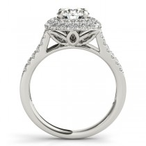 Split Shank Square Halo Diamond Engagement Ring 14k White Gold 2.00ct