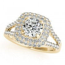 Split Shank Square Halo Diamond Engagement Ring 14k Yellow Gold 2.17ct