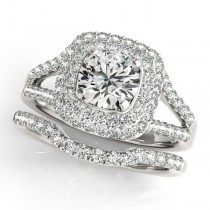 Diamond Split Shank Square Halo Bridal Set in 14k White Gold (2.17ct)