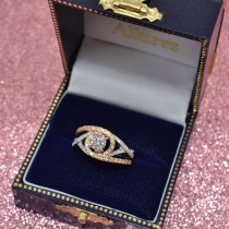 Twisted Three Row Halo Engagement Ring 14k Two Tone Rose Gold 1.00ct