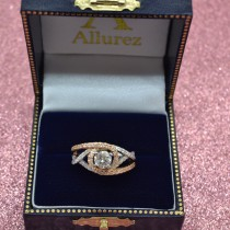 Twisted Three Row Halo Engagement Ring 18k Two Tone Rose Gold 1.00ct