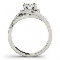 Twisted Three Row Halo Engagement Ring 18k White Gold 1.00ct