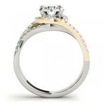 Twisted Three Row Halo Engagement Ring 18k Two Tone Yellow Gold 1.00ct