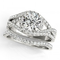 Twisted Halo Engagement Ring Bridal Set 14k White Gold (1.12ct)