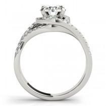 Twisted Halo Engagement Ring Bridal Set 14k White Gold (1.12ct)