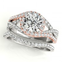Twisted Halo Engagement Ring Bridal Set 18k Two Tone R. Gold (1.12ct)