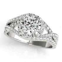 Twisted Halo Engagement Ring Bridal Set 18k White Gold (1.12ct)