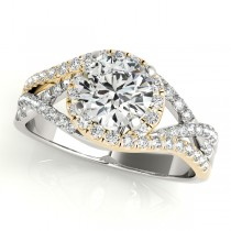 Twisted Halo Engagement Ring Bridal Set 18k Two Tone Y. Gold (1.12ct)
