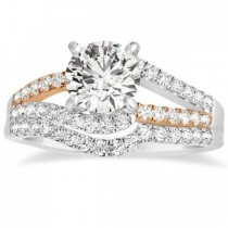 Twisted Diamond Split Shank Bridal Set 14k Two Tone Gold (0.50ct)