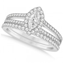 Marquise Diamond Split Shank Bridal Set Prong 14k White Gold (1.43ct)