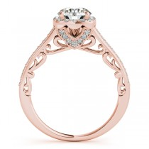 Diamond Square Halo Carved Engagement Ring 14k Rose Gold (0.35ct)