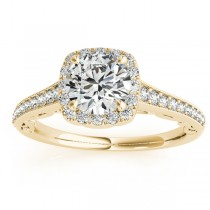 Diamond Square Halo Carved Engagement Ring 18k Yellow Gold (0.35ct)